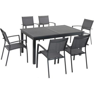 Turner 7-Piece Aluminum Outdoor Dining Set with 6-Sling Dining Chairs and 40 in. x 94 in. Table