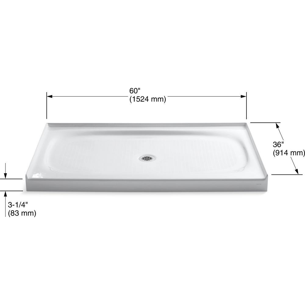 Kohler Salient 60 In X 36 Cast Iron Single Threshold Shower Base White