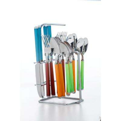 Riant Multicolor 16-Piece Flatware Set with Rack