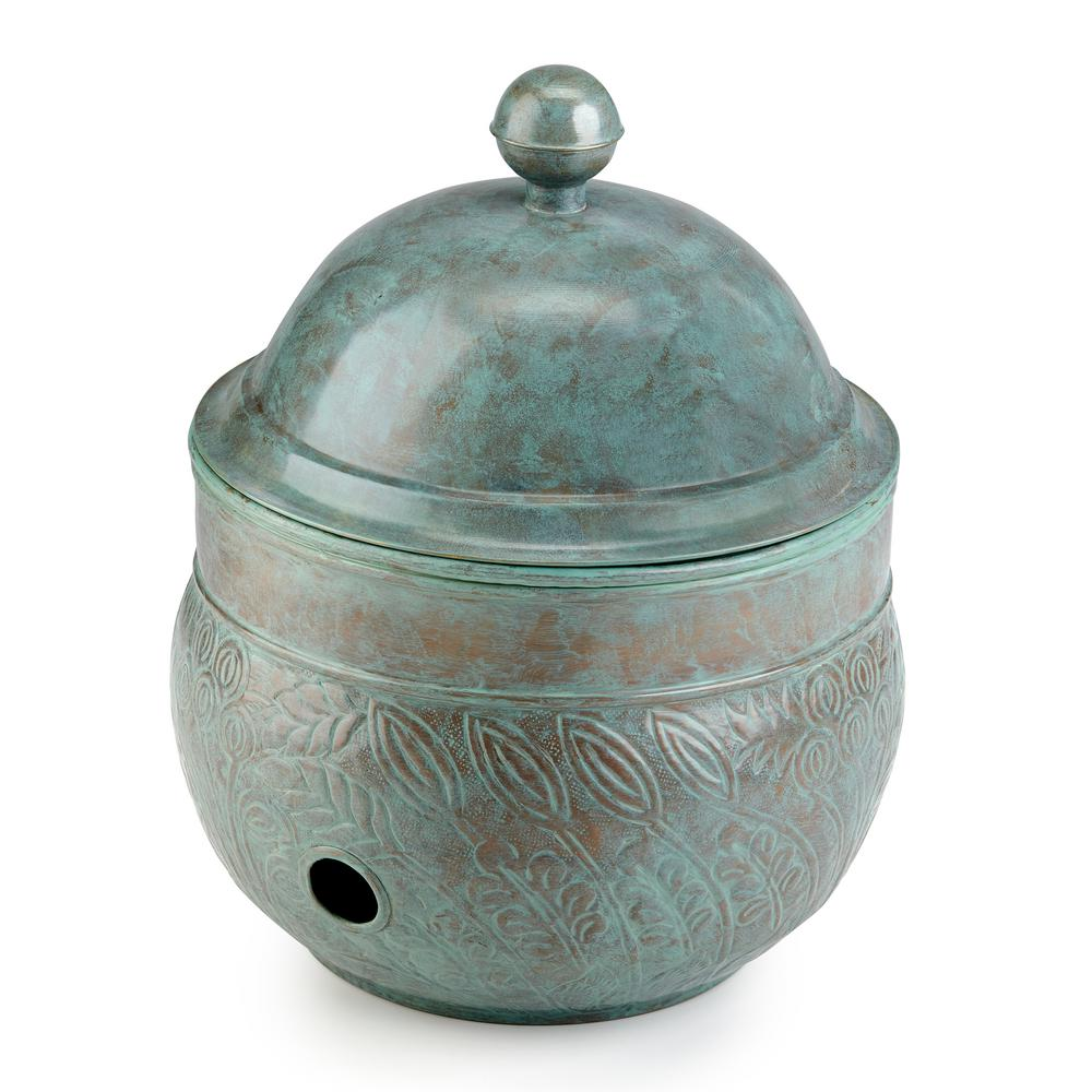 Brass Key West Hose Pot with Lid in Blue Verde