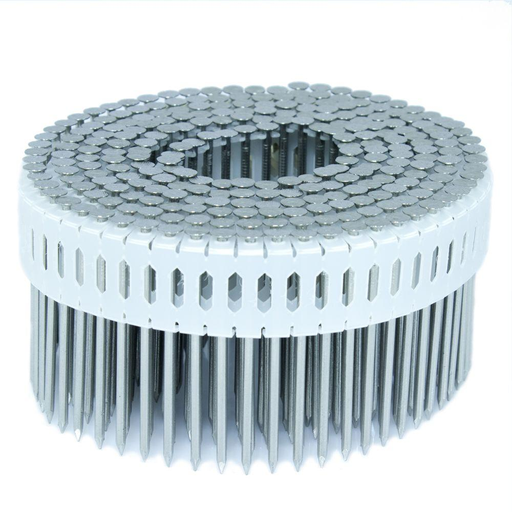 FASCO 2.25 in. x 0.092 in. 0-Degree Smooth Stainless Plastic Sheet Coil Nail 4,000 per Box