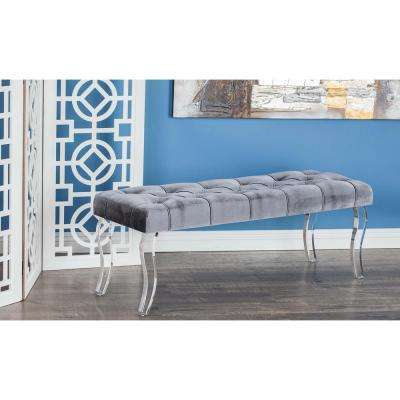 17 in. x 48 in. Modern Wood and Acrylic Velour Bench in Gray