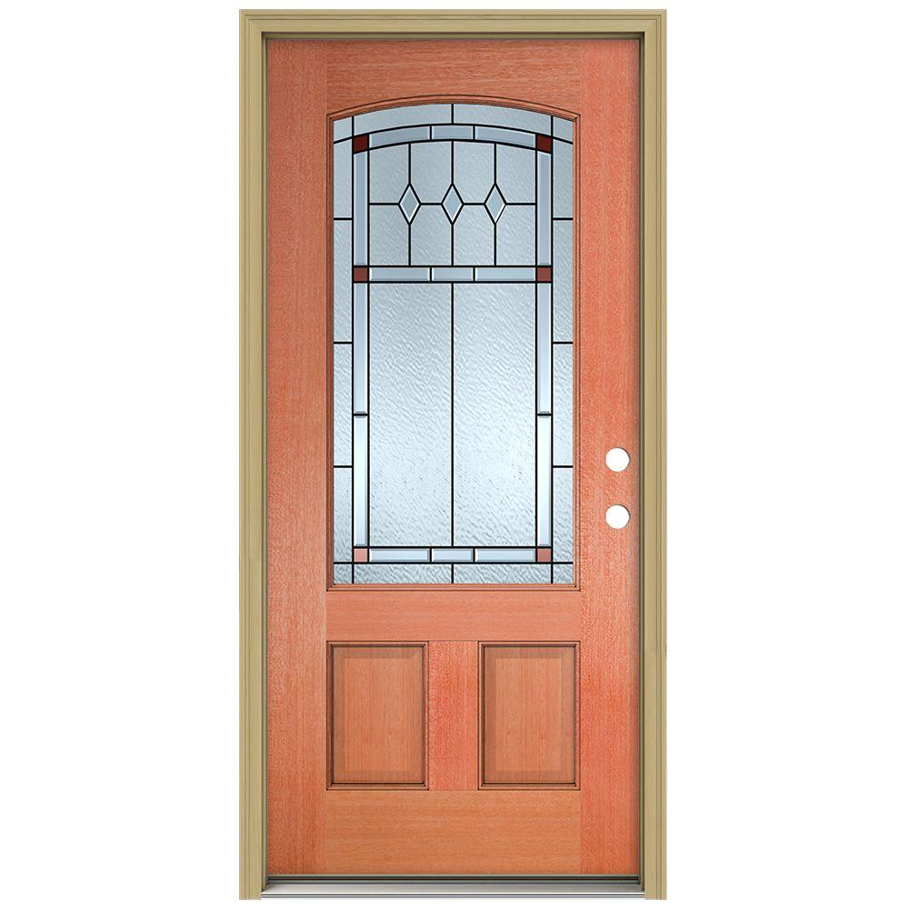 JELD-WEN 36 in. x 80 in. Ashmore Camber Top 3/4 Lite Unfinished Mahogany Prehung Front Door with Brickmould and Patina Caming