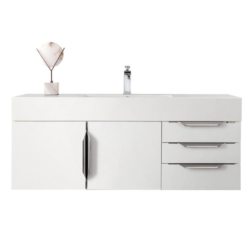 James Martin Signature Vanities Mercer Island 48 in. W Vanity in Glossy White with Solid Surface Vanity Top in Matte White with Matte White Basin