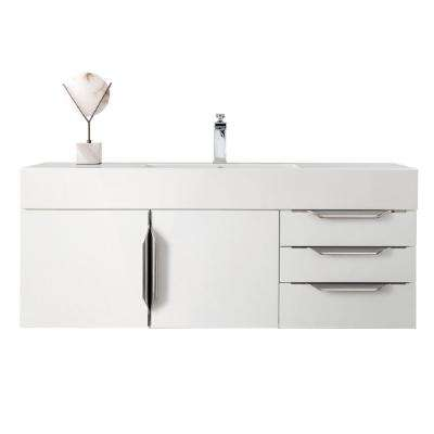 Mercer Island 48 in. W Vanity in Glossy White with Solid Surface Vanity Top in Matte White with Matte White Basin