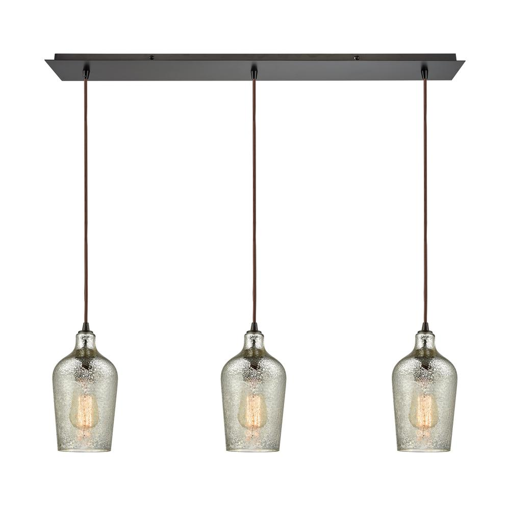 An Lighting Hammered Gl 3 Light Linear Pan In Oil Rubbed Bronze With Mercury
