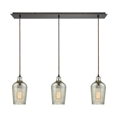 Hammered Glass 3-Light Linear Pan in Oil Rubbed Bronze with Hammered Mercury Glass Pendant
