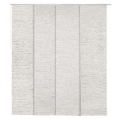 Mica + Blackout Natural Woven Adjustable Sliding Window Panel Track with 23 in. Slates Up to 86 in. W x 96 in. L