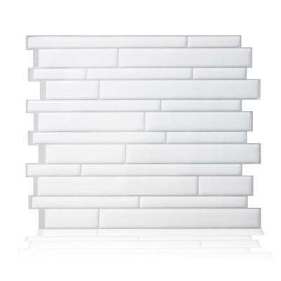 Milano Blanco 11.55 in. W x 9.65 in. H White Peel and Stick Decorative Mosaic Wall Tile Backsplash (6-Pack)