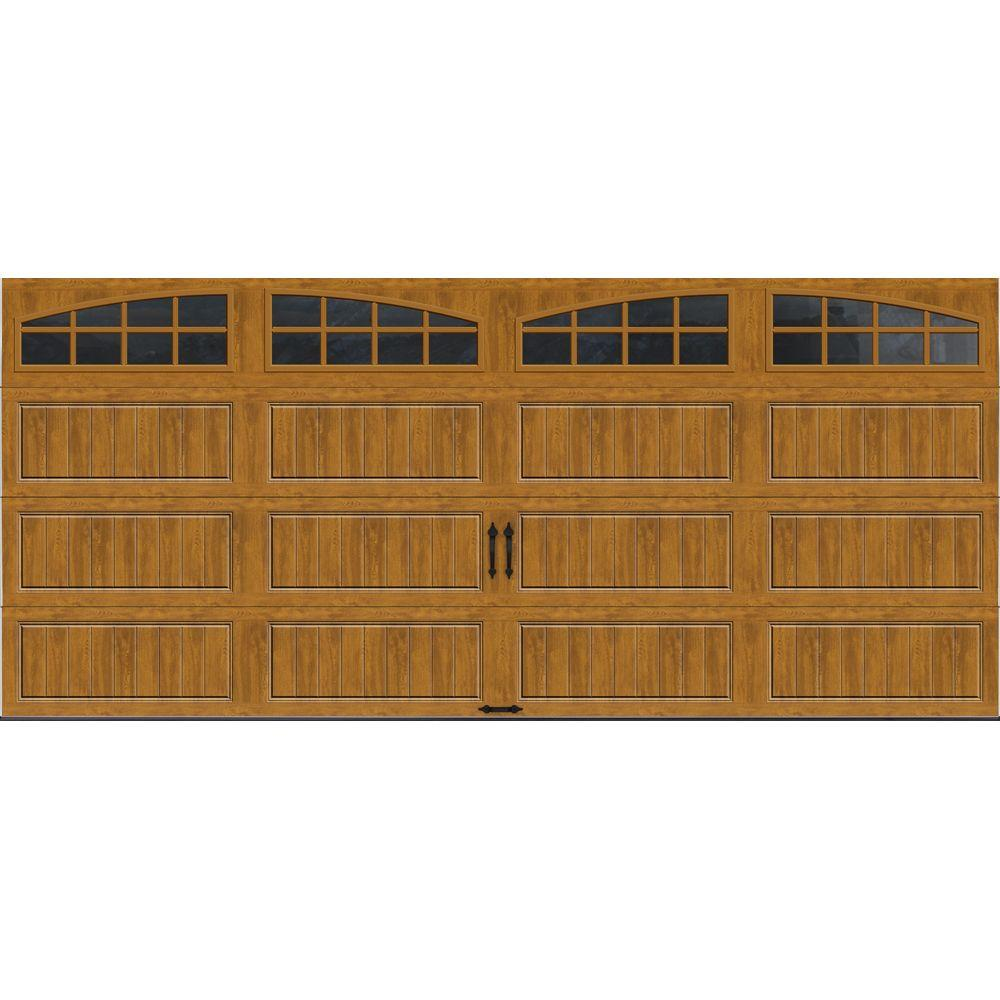 Clopay Gallery Collection 16 ft. x 7 ft. 18.4 R-Value Intellicore Insulated Ultra-Grain Medium Garage Door with Arch Window
