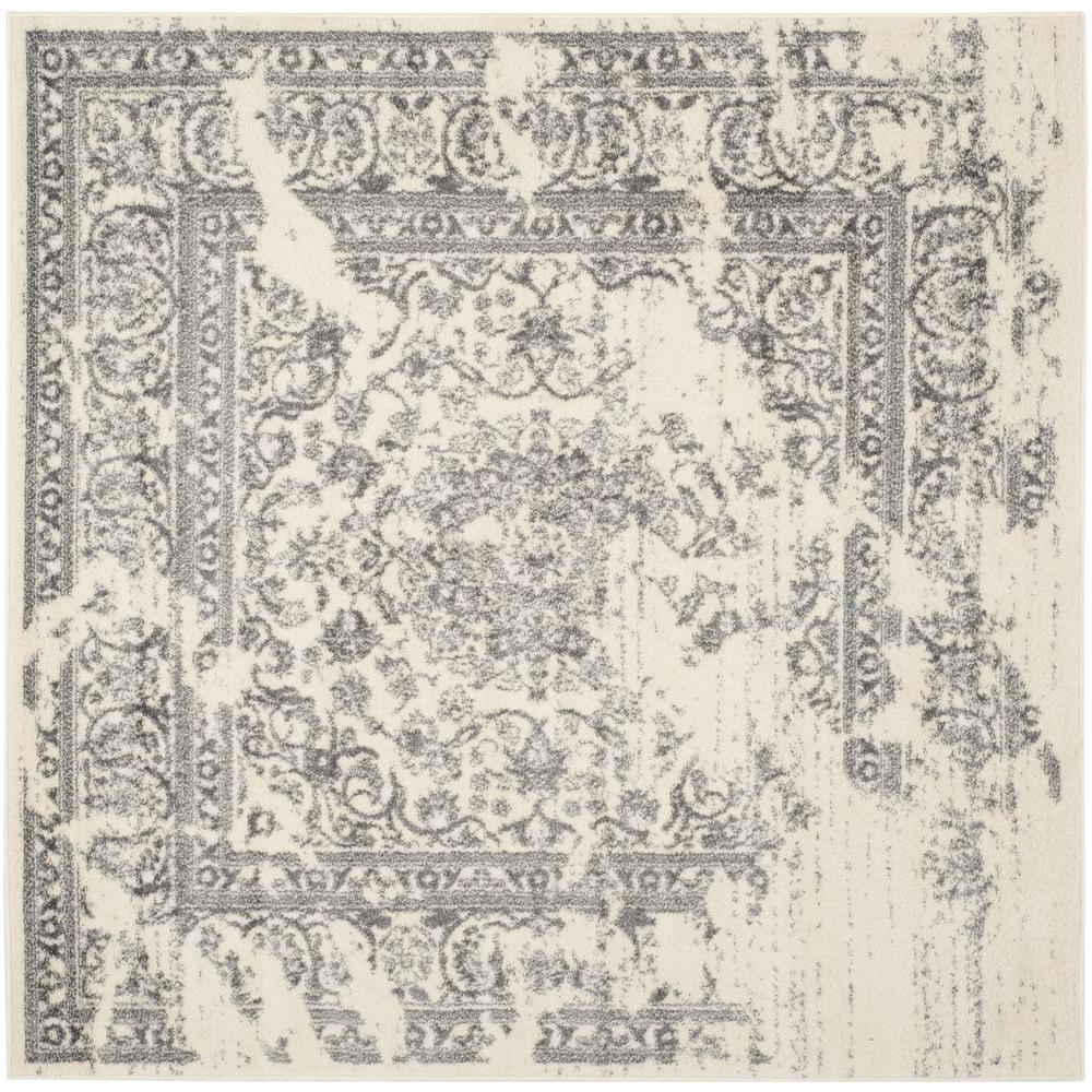 Adirondack Ivory/Silver 4 ft. x 4 ft. Square Area Rug
