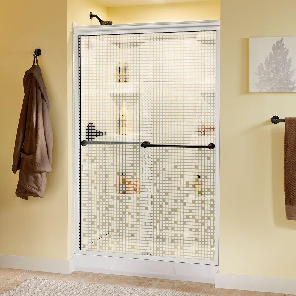 Delta Crestfield 48 in. x 70 in. Semi-Frameless Sliding Shower Door in White with Bronze Handle and Mozaic Glass