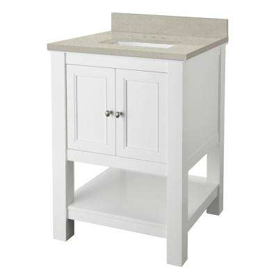 Gazette 25 in. W x 22 in. D Vanity Cabinet in White with Engineered Quartz Vanity Top in Stoneybrook with White Sink
