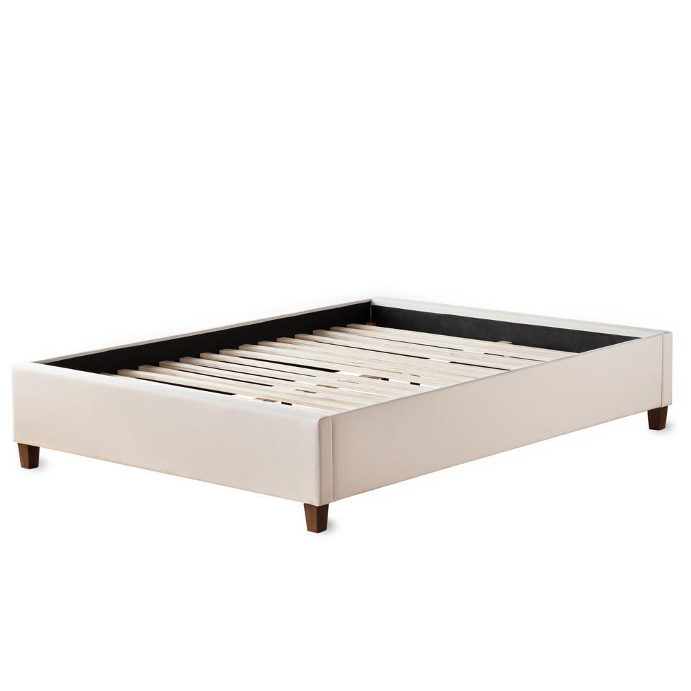 Ava Cream Full Upholstered Platform Bed with Slats