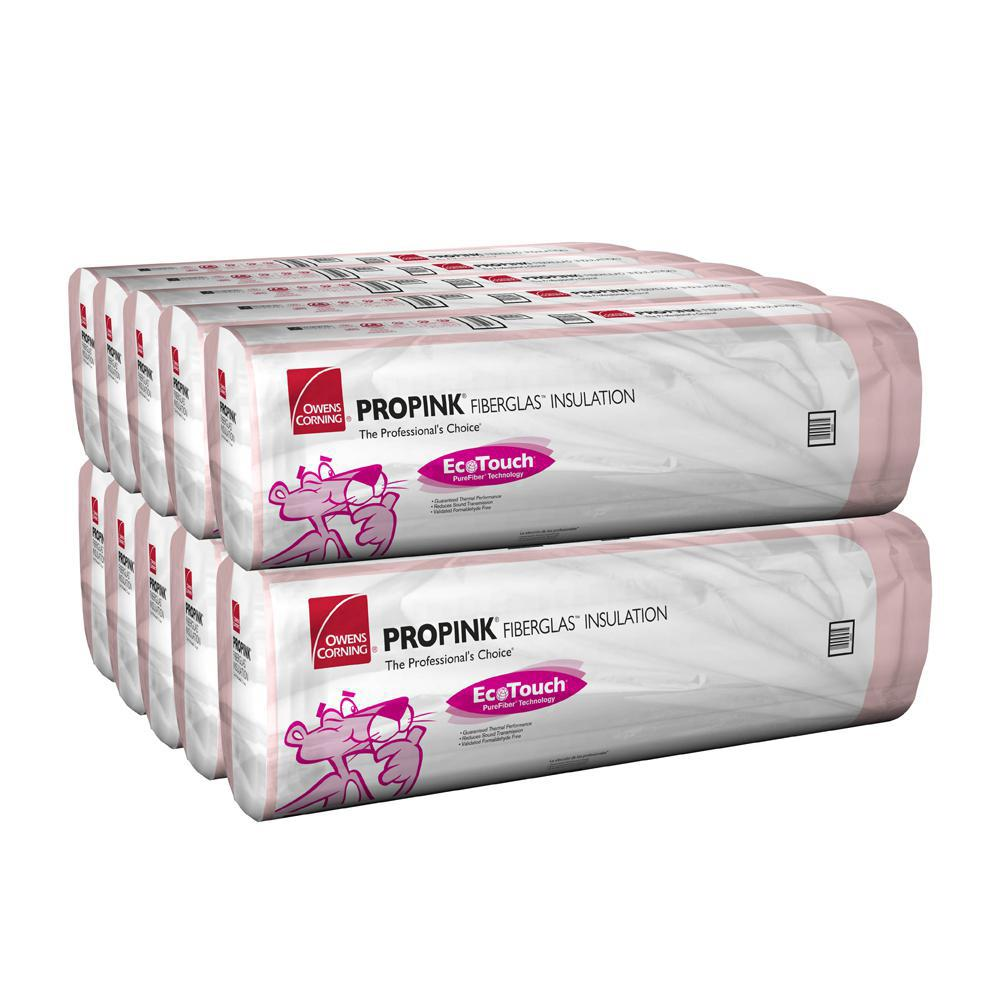 Owens Corning R-30 EcoTouch PINK Cathedral Ceiling Unfaced Fiberglass Insulation Batt 15-1/2 in. x 48 in. (10-Bags)