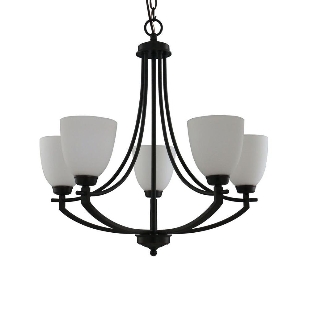 Hampton Bay 5 Light Bronze Chandelier With White Frosted Glass Shades 16656