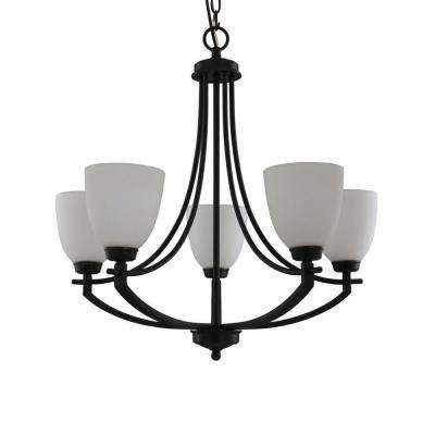 5-Light Bronze Chandelier with White Frosted Glass Shades