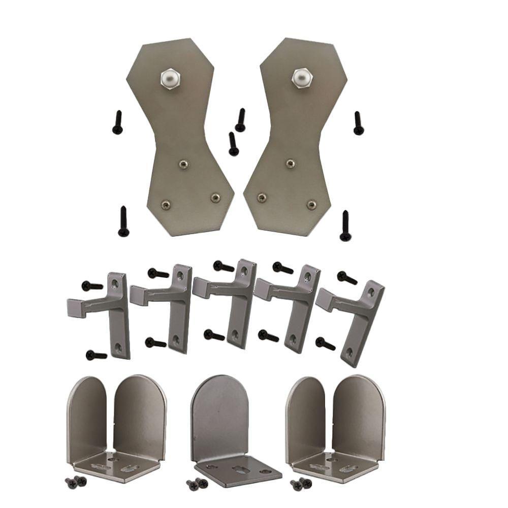 Quiet Glide 3/4 in. - 1-1/2 in. Castle 2 Satin Nickel Rolling Door Hardware Kit