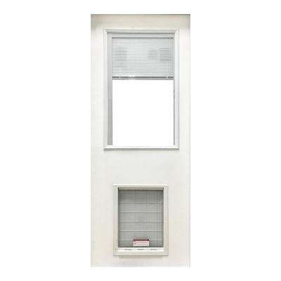31-3/4 in. x 79 in. Clear Half Lite Mini-Blind White Primed Fiberglass Front Door Slab with Super Large Pet Door