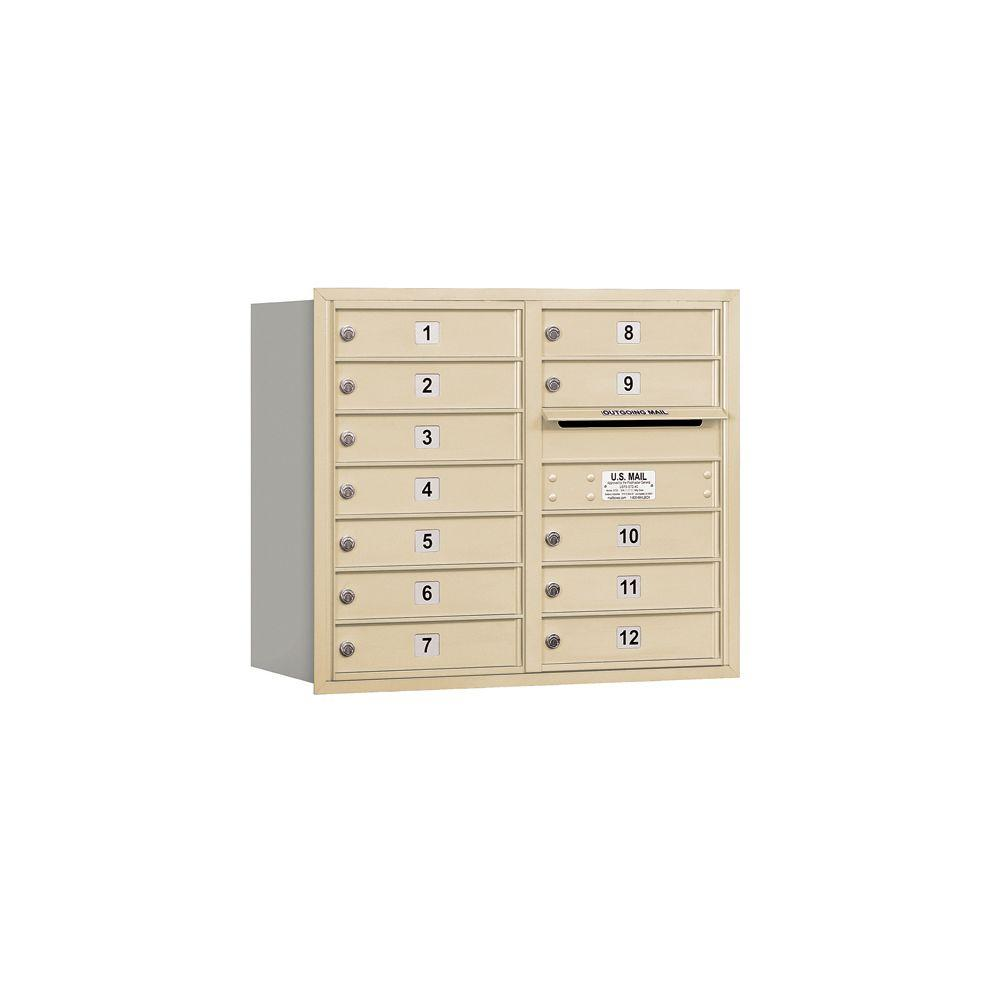 Salsbury Industries 3700 Series 27 in. 7 Door High Unit Sandstone USPS Rear Loading 4C Horizontal Mailbox with 12 MB1 Doors