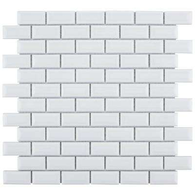 Metro Subway Beveled Glossy White 12 in. x 12 in. x 5 mm Porcelain Mosaic Tile (10.21 sq. ft. / case)