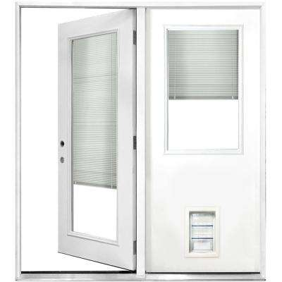 72 in. x 80 in. Mini-Blind White Primed Prehung Right-Hand Inswing Fiberglass Center Hinge Patio Door with Med Pet Door