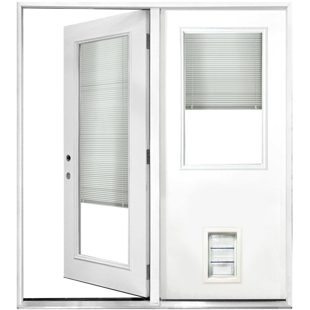60 in. x 80 in. Mini-Blind White Primed Prehung Right-Hand Inswing Fiberglass Center Hinge Patio Door with Med Pet Door