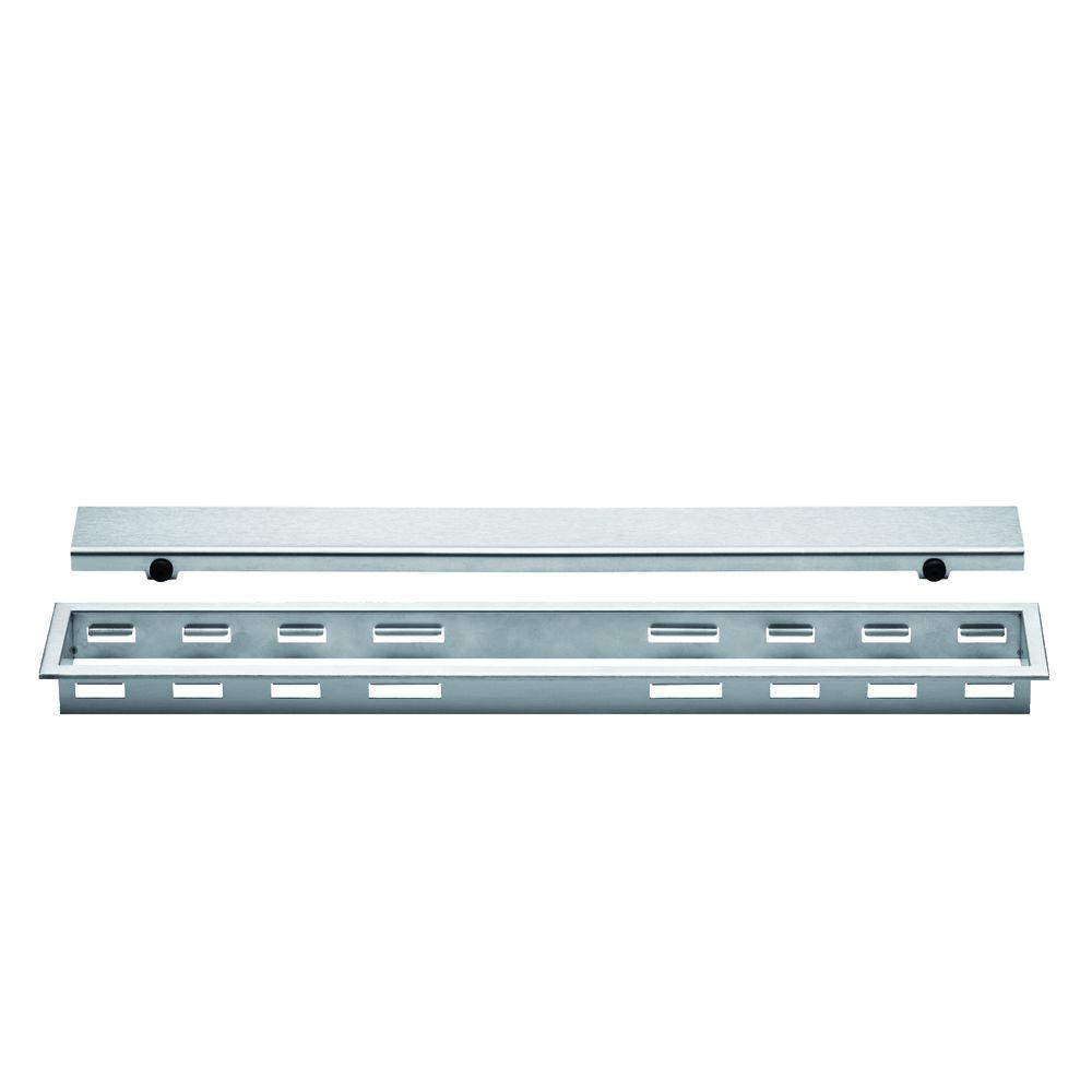 Kerdi-Line Brushed Stainless Steel 20 in. Metal Closed Drain Grate Assembly