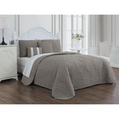 Nolie 9-Piece Taupe/Ivory Queen Quilt Set