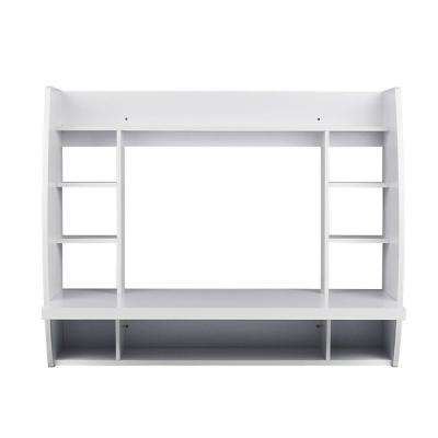 Melamine Wall Mount Floating Desk with Shelving, Storage Nooks (White)