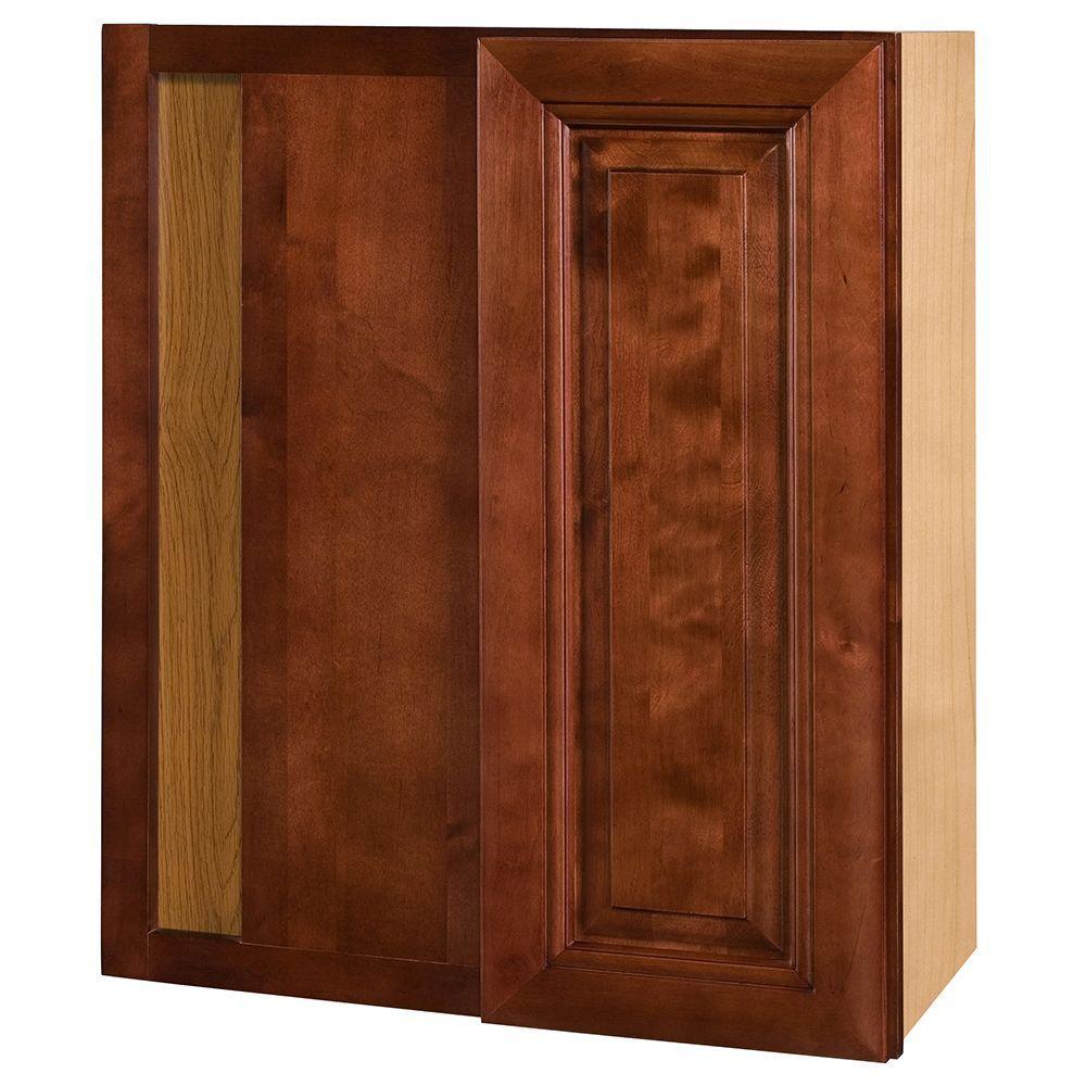 Home Decorators Collection Lyndhurst Assembled 24x30x12 in. Single Door Hinge Left Wall Kitchen Blind Corner Cabinet in Cabernet