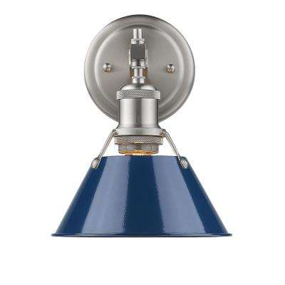 Orwell PW 1-Light Pewter Bath Light with Navy Blue Shade