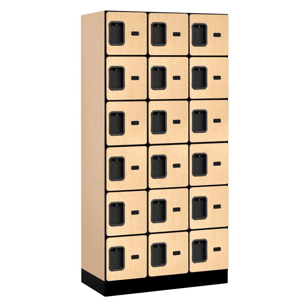 36000 Series 36 in. W x 76 in. H x 18 in. D 6-Tier Box Style Designer Wood Locker in Maple