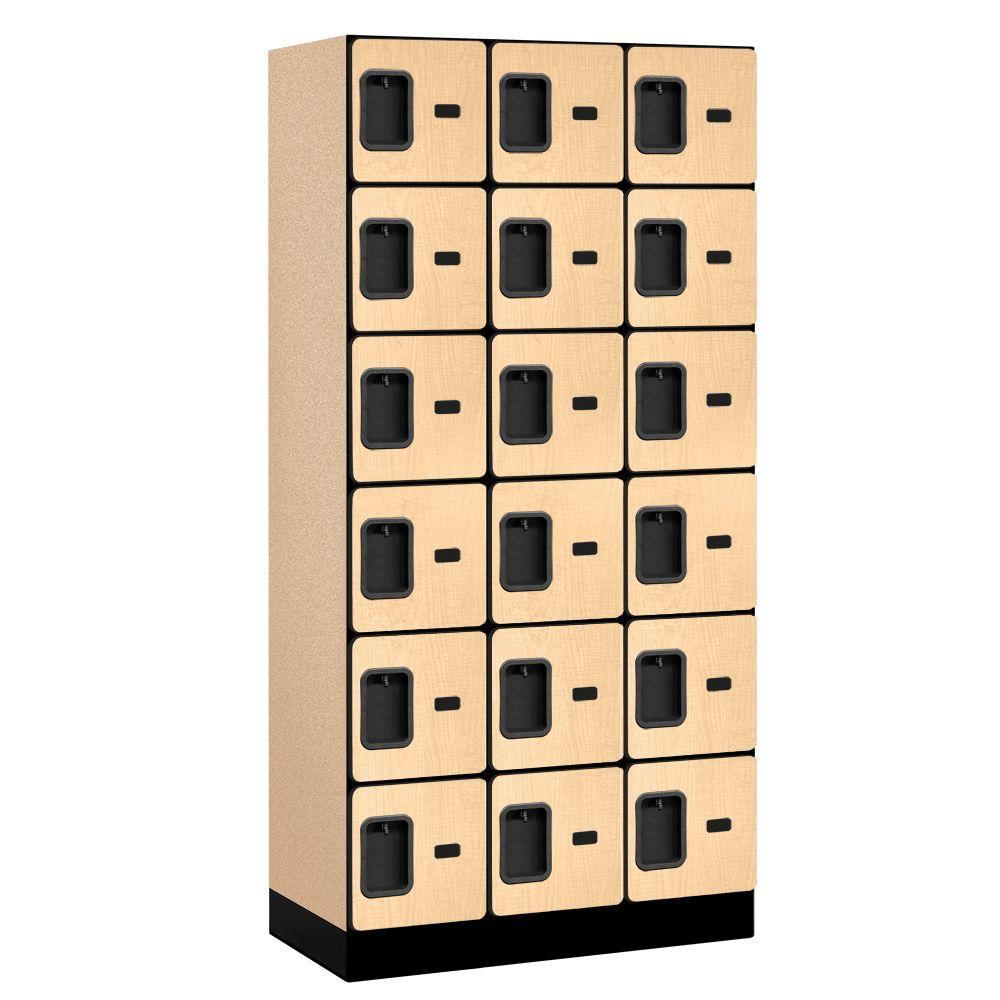 Salsbury Industries 36000 Series 36 in. W x 76 in. H x 18 in. D 6-Tier Box Style Designer Wood Locker in Maple