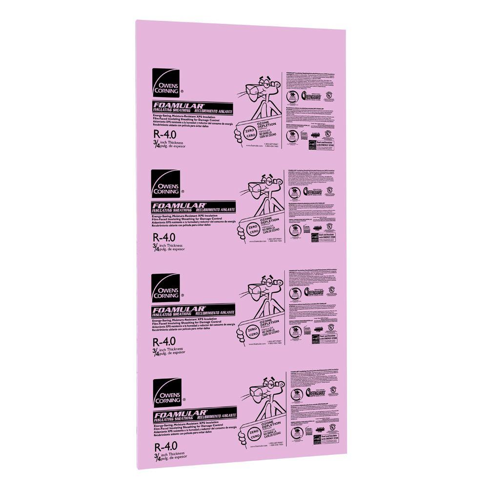 Owens Corning FOAMULAR 3/4 in. x 4 ft. x 8 ft. R-4 Tongue and Groove Insulating Sheathing