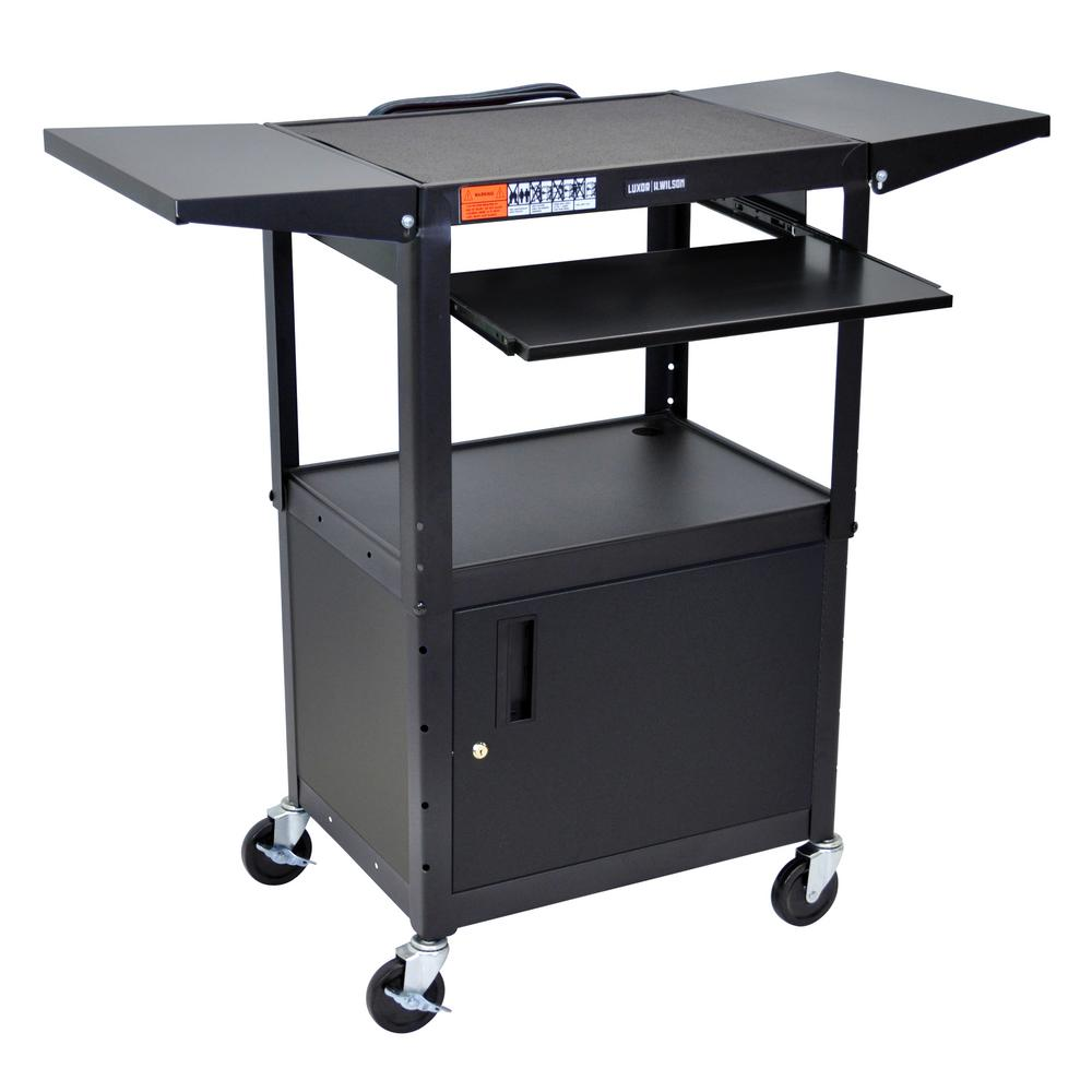 Adjustable Height 24 in. Steel A/V Cart with Pullout Shelf Drop