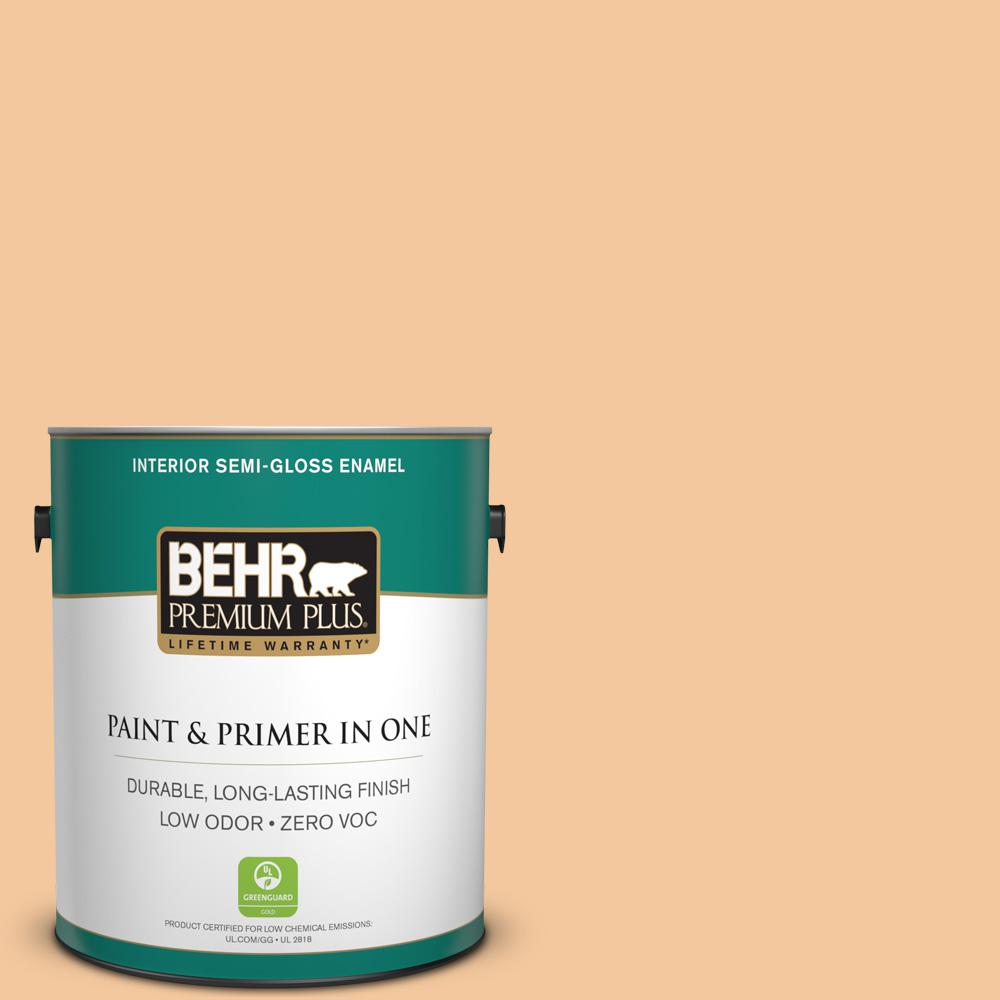 BEHR Premium Plus 1-gal. #M240-4 Sheer Apricot Semi-Gloss Enamel Interior Paint