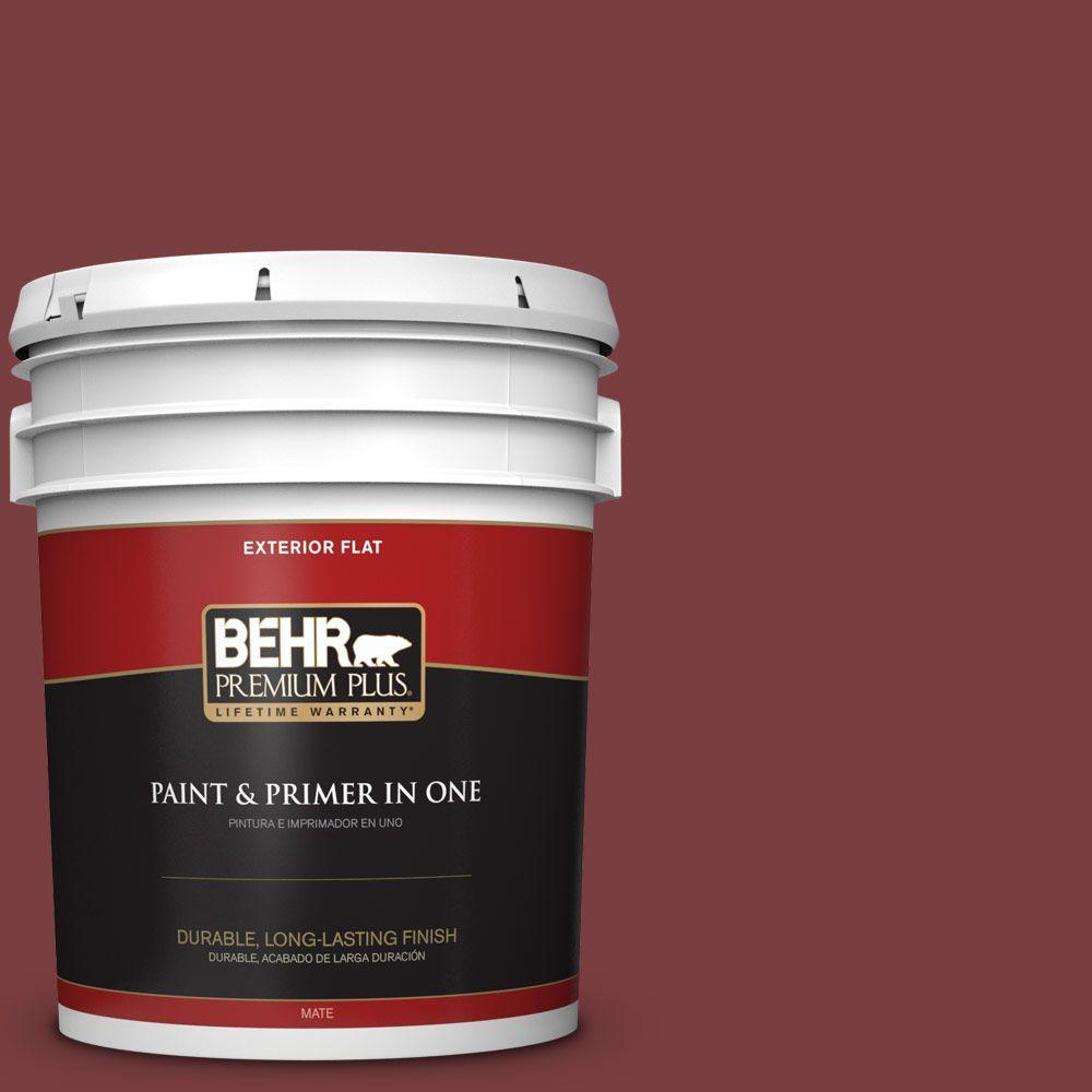 BEHR Premium Plus 5-gal. #S-H-140 Cinnamon Cherry Flat Exterior Paint