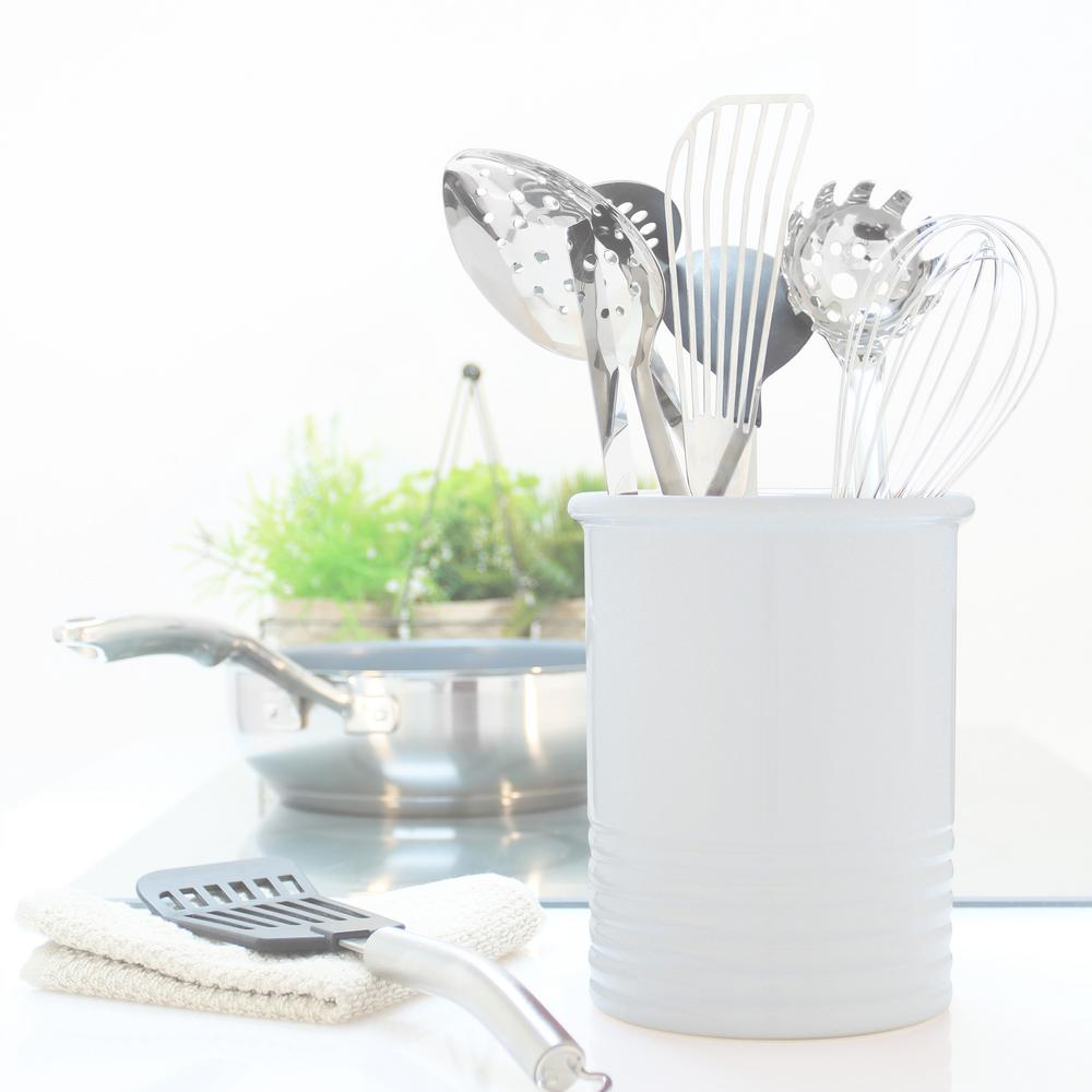 Medium Glossy White Ceramic Utensil Crock