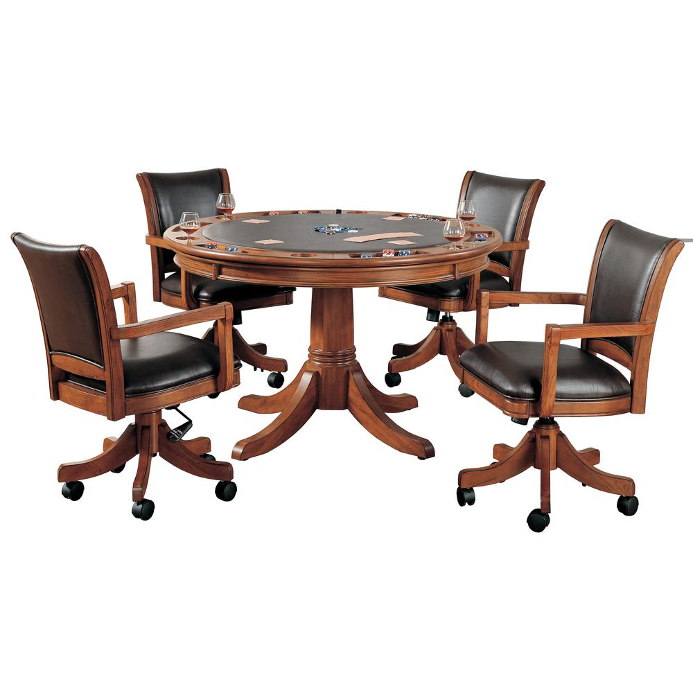 Park View Brown Oak 5-Piece Gaming Table and Chairs  sc 1 st  Home Depot & Poker Tables - Game Room - The Home Depot