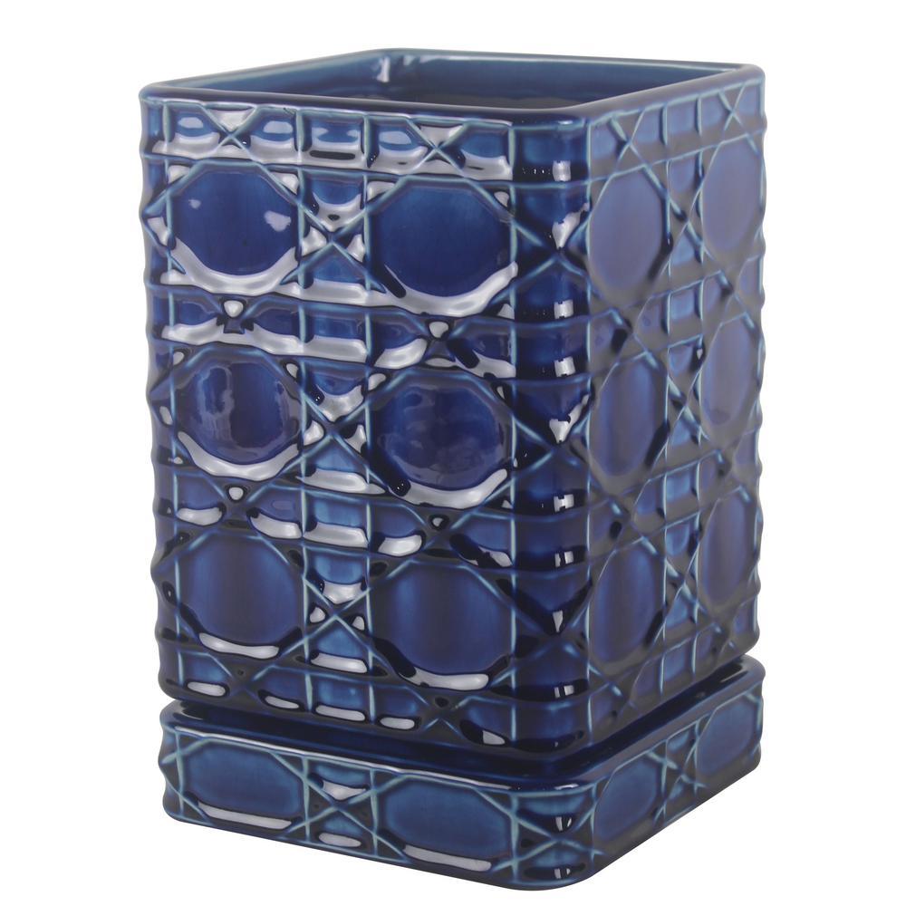 Trendspot 6 in. Dia Ceramic Cobalt Blue Carlysle Square Planter