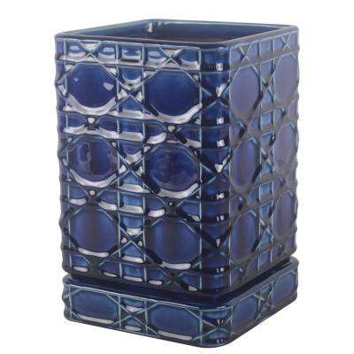 Trendspot 6 in. Dia Cobalt Blue Carlysle Square Planter with In-Line Saucer