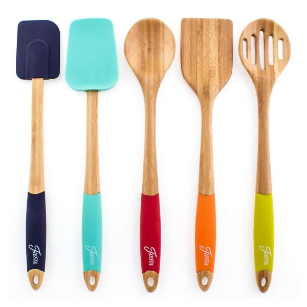 5-Piece Bamboo and Silicone Utensil Set