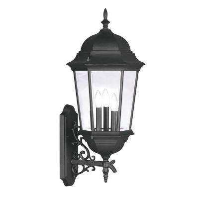 Providence Wall-Mount 3-Light Black Outdoor Incandescent Lantern