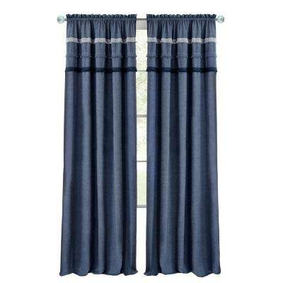 Blue Jean 52 in. W x 84 in. L Polyester Rod Pocket Curtain Panel in Blue