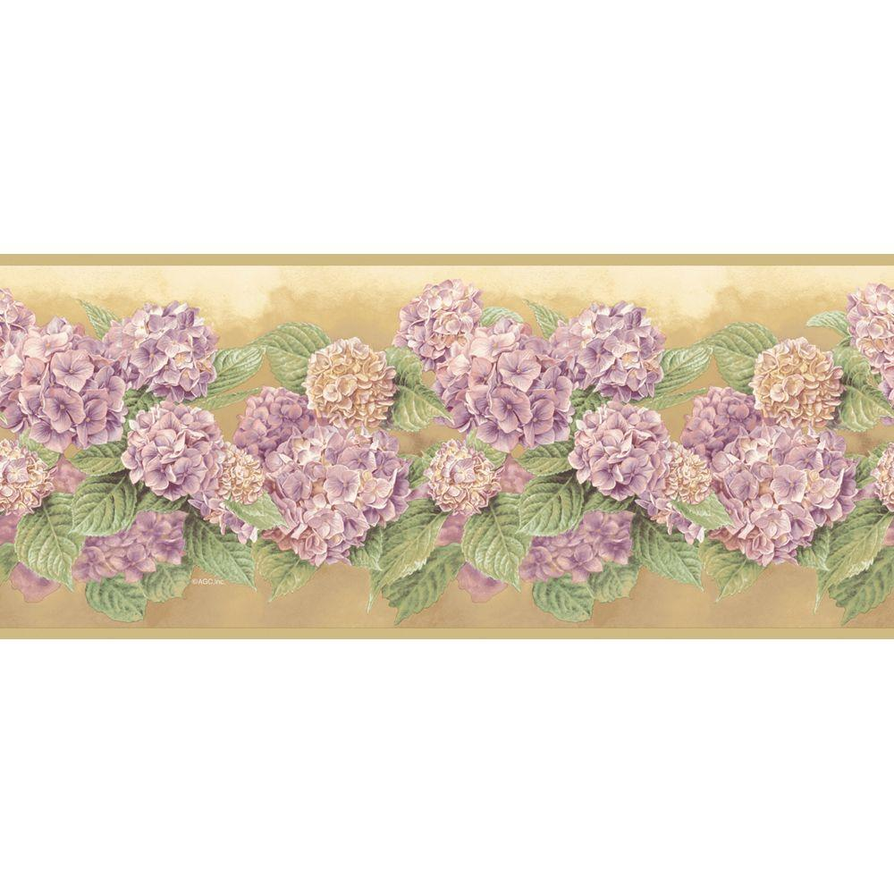 The Wallpaper Company 7.75 in. x 15 ft. Purple Hydrangea Border