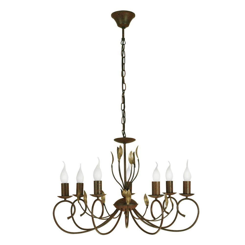 Eglo Catania 7-Light Ceiling Mount Antique Brown Chandelier with Gold Accents