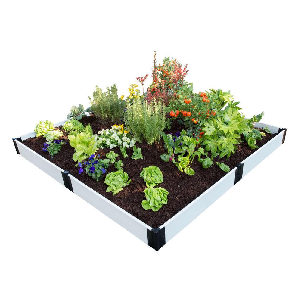 8 ft. x 8 ft. x 8 in. Classic White Composite Raised Garden Bed Kit
