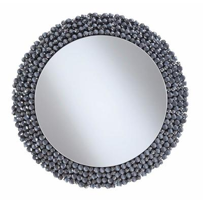 31.5 in. H x 31.5 in. W Medium Round Silver Modern Mirror