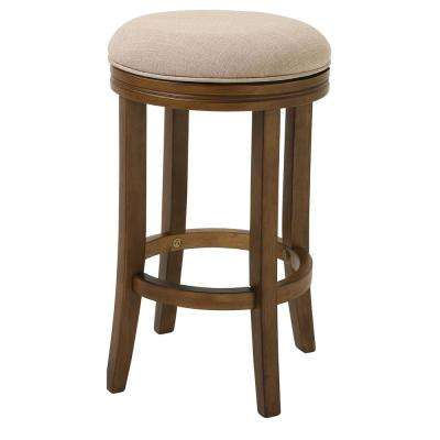 """Victoria 25"""" Counter Height Swivel Stool with Cream Fabric and Honeysuckle Finish"""